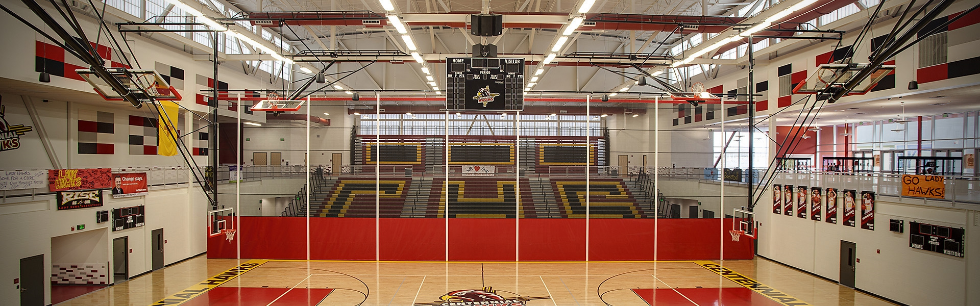 BASKETBALL BACKSTOPS, GYM DIVIDERS AND WALL PADS | Centennial High School, Las Cruces, NM | Architect: Norcon of New Mexico