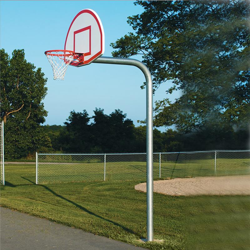 gooseneck style basketball goal posts