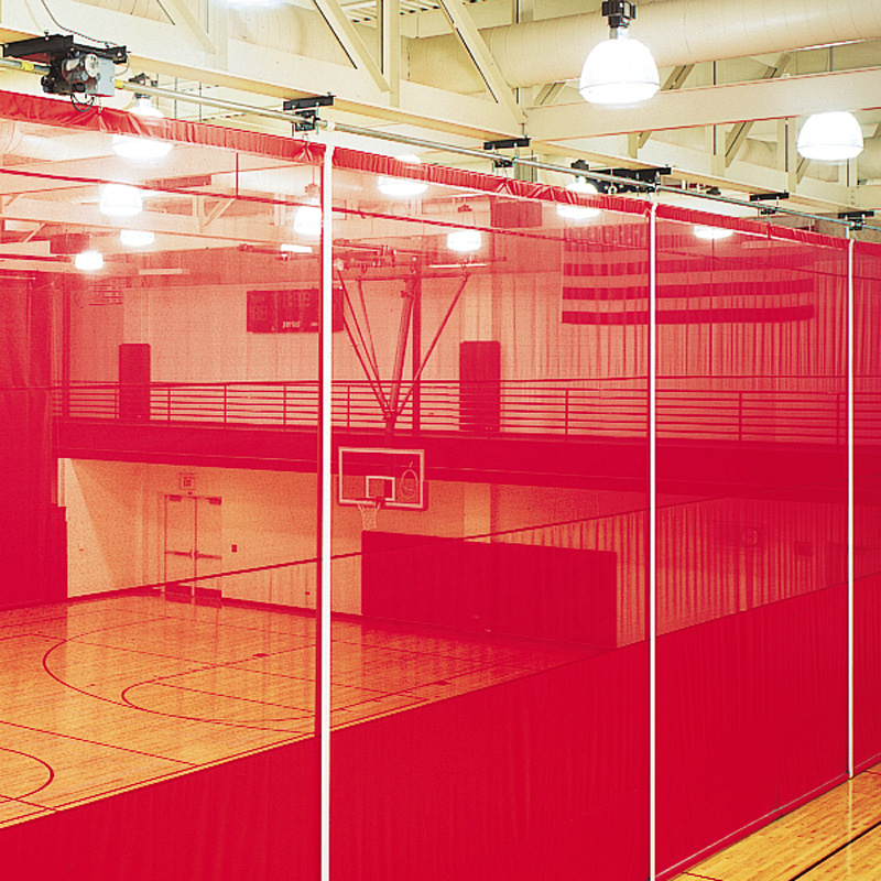 A Roll Up Gym Divider Curtain Is A Convenient And Simple Way To Divide An  Area. The Curtain Hangs From Overhead Supporting Steel Structures.