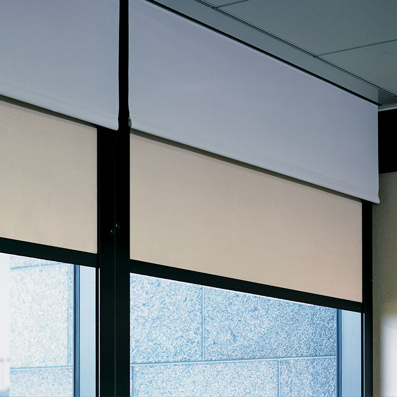 Dual roller clutch flexshade draper inc for Motorized blackout shades with side channels