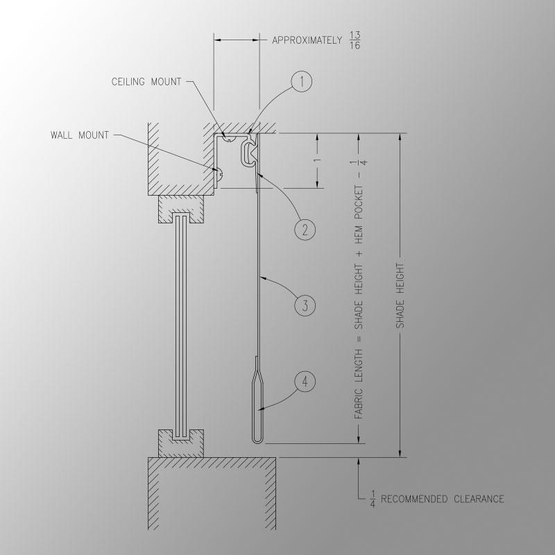Shade Panel Mounting Channel Spline Attachment Draper